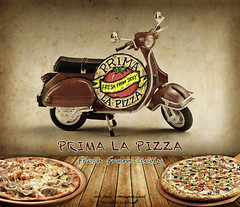 Pizza (Fahad Al-Robah) Tags: old red brown vegetables tomato restaurant restaurants announcement pizza motorcycle delivery service