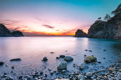 Sebama Beach Sunset _Feb.29 (-TommyTsutsui- [nextBlessing]) Tags: longexposure blue winter light sunset sea orange seascape beach nature rock japan stone landscape nikon purple dusk magic tide scenic shore      izu    nishiizu sigma1020  onsalegettyimages