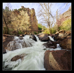 Structures (Tyler Porter Photography) Tags: bridge pink trees green creek sunrise river spring interesting fishing colorado stream hiking sony exploring earlymorning wideangle bluesky canyon structure cliffs climbing boulders april alpha inspirational loud diffused cloudysky arvada verticalpanorama motivational rushingwater inbloom springrunoff southbouldercreek a55 eldoradocanyon sigma1020 dodgingandburning tylerporter vertorama professionallandscape coloradostatepark luminositymasks