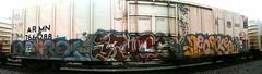 NSF Crew (+PR+) Tags: railroad streetart chicago graffiti trains spraypaint railfan freight boxcars railcars reefer nsf rollingstock rxr endtoend benching yucs necske onorox