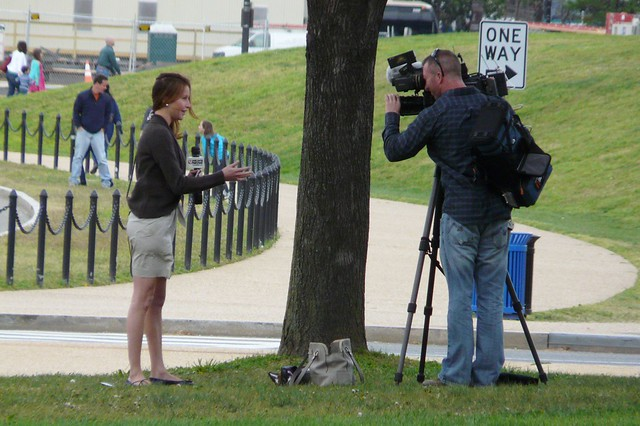 Channel 9 news near the Washington Monument