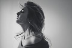 Torn (Kaat dg) Tags: light portrait blackandwhite bw girl self hair 50mm nikon 14 selfie selfportret d5100