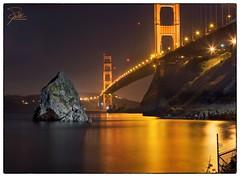 Golden Gate Bridge (Frank Kehren) Tags: sanfrancisco california reflection rock night canon unitedstates goldengatebridge f11 24105 canonef24105mmf4lis ef24105mmf4lisusm conzelmanroad canoneos5dmarkii
