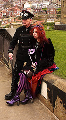 Whitby Goth Weekend 25 (Beachcomber ( By The Bay )) Tags: people beach monochrome festival female photoshop canon photography mono coast seaside interesting north goth 19thcentury perspective victorian steam coastal corset coastline popular northeast seashore period edwardian fascinating powered steampunk northeastcoast bythesea calmsea seasides whitbygothweekend coastallife 450d canoneos450d photoshopelements80 beachcomberbythebay