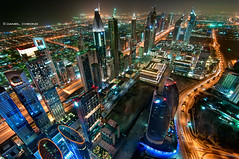 DubaiTronic (DanielKHC) Tags: road roof tower night high nikon long exposure dubai top towers uae center emirates zayed tron financial index sheikh d300 dfc danielcheong danielkhc tokina1116mmf28