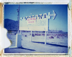 Salton Sea Beach, CA (moominsean) Tags: sea sign marina polaroid desert entrance bleached 190 iduv beachsalton expired112005californiasalton