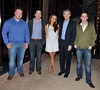 Una Healy and Michael Lowry TD with promotors of The Saturday's upcoming concert in Tipperary Celebrities outside the RTE Studios for 'The Late Late Show' Dublin, Ireland