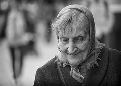 happy grandma (White_V) Tags: street grandma portrait woman london happy candid wb 2012 whiteandblack eldery