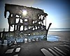 sunshine and rainbows (imagebyTerri) Tags: blue texture beach skeleton rusty shipwreck oregoncoast rainbows peteriredale sunbeams historicaloregon