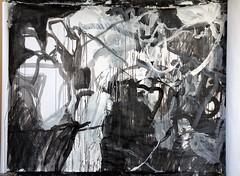 Emaki study 20120523 (mayakonakamura) Tags: abstract painting tokyo acrylic diary experiment study charcoal calligraphy nakamura mayako automaticdrawing emaki kentpaperroll