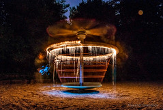 UFO Landing on the Beach (FDU4) Tags: longexposure light lightpainting night dark painting fire outdoor magic pebbles ufo landing helicopter burning burn icicle rotation dripping