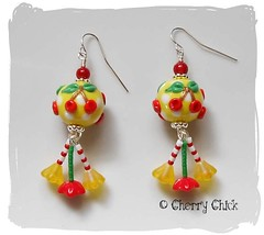 Cherry Earrings (Cherry Chick Jewelry) Tags: artisanjewelry cherryearrings beadedearrings handcraftedjewelry lampworkearrings womensearrings cherrylampwork cherrychickjewelry