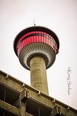 160/366 - June 8, 2012 - Calgary Tower (Keeperofthezoo) Tags: red canada calgary tower downtown ab alberta parkade greyday hdr greysky calgarytower downtowncalgary canonxsi
