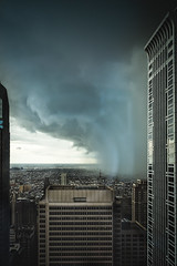 The Storm on High (c. Melon Images) Tags: street city light shadow sky storm reflection philadelphia beautiful rain weather clouds spring fuji wind fear philly meterology 23mm vsco lr5 x100s dirtywindowseries
