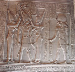 Kom Ombo, Temple of Horus and Sobek, Ptolemy VIII crowned (dr.heatherleemccarthy) Tags: sculpture texture monument architecture night writing temple stonework text egypt relief hieroglyphs ptolemaic ptolemy wadjet rahorakhty nekhbet