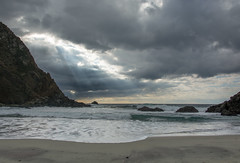 Moody Morning At Pfeiffer Beach (Basak Prince Photography) Tags: seascape clouds coast sand rocks moody pacific bigsur highway1 centralcalifornia pfeifferbeach godrays landscapephotography