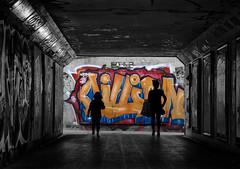Graffiti silhouettes (Daz Smith) Tags: city uk portrait people urban blackandwhite bw woman streets blancoynegro girl monochrome canon bristol underpass graffiti blackwhite bath candid graf citylife thecity streetphotography silhouettes walls canon6d dazsmith bathstreetphotography