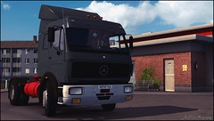 eurotrucks2 2016-05-12 22-26-31 (JonSnow-Emre54) Tags: blue red sky game clouds truck mercedes benz video trucker euro trevor oldschool virtual ng simulator trucking truckers ets2