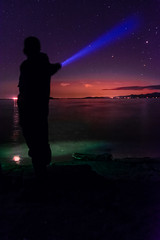 Beam (~138~) Tags: ocean pink blue light sky canada lightpainting man colour green art beach night stars lights alone nightlights colours bc nightscape purple space victoria beam pacificocean paintingwithlight late pointing lightart shiloutte whttyslagoon