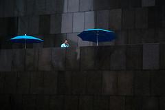 Black and Blue (BrianEden) Tags: california street blue reflection building businessman architecture la us office losangeles downtown fuji unitedstates streetphotography fujifilm umbrellas xpro1