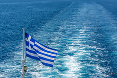 Greek Flag (Thomaskont) Tags: sea summer landscape nikon outdoor flag hellas greece corfu ioniansea   d5200