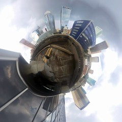 Downtown Tampa (Joey Phillips) Tags: city skyline buildings circle tampa downtown cityscape florida 360 sphere tiny planet panorma sterograph sterographic