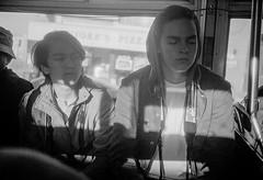 Connor & Thane on the bus (aweiss.sf) Tags: sanfrancisco california bus film analog blackwhite kodak rangefinder olympus muni eastman oceana 35rc doublex interim 5222 oceanahighschool
