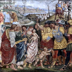 IMG_0657C Luca Signorelli. 1440-1523. Coriolanus persuaded by his Family to spare Rome. Coriolan convaincu par sa famille  d'pargner Rome. vers 1509. Londres National Gallery. (jean louis mazieres) Tags: london museum painting unitedkingdom muse nationalgallery londres museo peintures peintres lucasignorelli