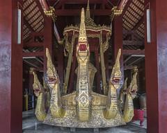 Gilded ceremonial barge (tmeallen) Tags: red gold culture thong laos wat gilded buddhisttemple luangprabang naga xieng kingcobra ceremonialbarge royalbarge 7headedsnake