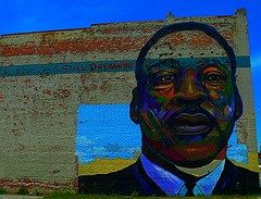 Still Dreaming (SCOTTS WORLD) Tags: city light ohio summer sky urban usa sunlight man art texture architecture clouds america fun artwork mural midwest unitedstates angle pov famous perspective bluesky panasonic adventure urbanart toledo legend civilrights urbanexploring martinlutherking urbex