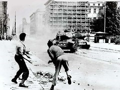 On the 17th of June 1953, two East German protesters are throwing stones at Soviet tanks during the Uprising in the GDR [1024x768] #HistoryPorn #history #retro http://ift.tt/1UDiRtS (Histolines) Tags: two history june during stones retro east german soviet timeline gdr protesters uprising 17th throwing tanks 1953 on 1024x768 vinatage historyporn histolines httpifttt1udirts