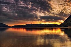 Wanaka morning (Kevin_Jeffries) Tags: lighting light mountain lake reflection nature water weather sunrise landscape gold flickr glow hill clear idyllic kevinjeffries