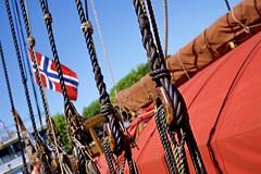 The Vikings return! (Jamie McCaffrey) Tags: norway boat ship fuji dof bokeh flag norwegian ropes viking knots pulley norse xt1 50140mm drakenharaldharfagre