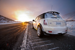 Braving the Elements (Folk|Photography) Tags: california road ca snow storm cold car weather sunrise wind empty nevada dramatic mini s automotive newportbeach blow sierra turbo cooper dust epic emptiness mountainrange caked