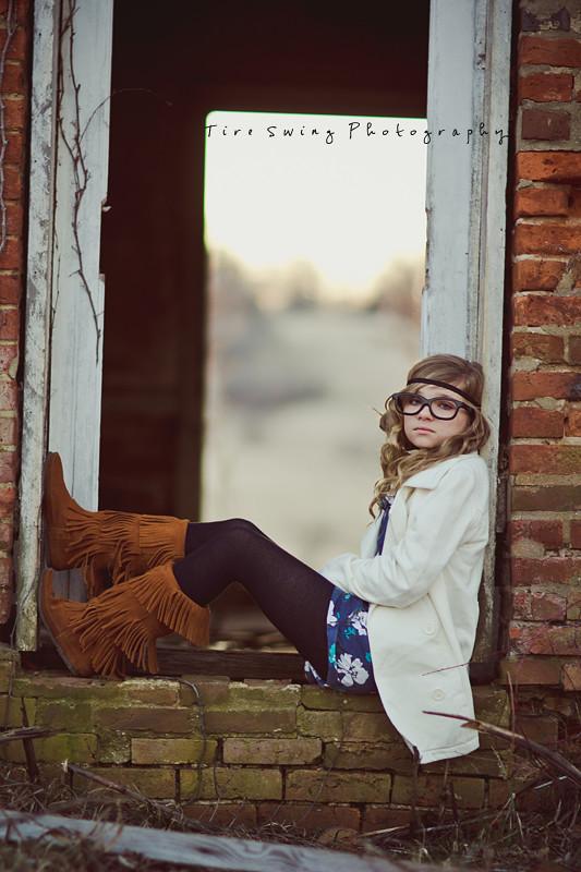 bad framing photography. (tire Swing Photography) Tags: Lighting Door Brick Senior Girl Vintage Glasses Child Boots Bad Framing Photography