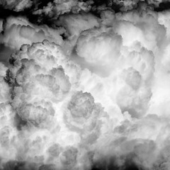 Awakening (kevin dooley) Tags: bw cloud white black window clouds contrast canon airplane shot ltr awakening air monotone aerial powershot awake noise airplanewindow cloudage s95 lowtonalresolution oliotone