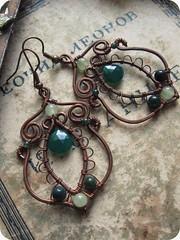 24 (lirimaer86) Tags: light summer flower green nature leaves leaf spring team wire heart feminine goddess inspired wrapped jewelry hippie earrings bud tt elegant boho eco dangle bohemian