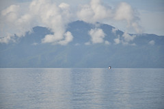 boat in Milne Bay (yumievriwan) Tags: mountain reflection water clouds boat png alotau milnebay lpsmooth