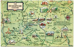 Postcard map of the Shakespeare Country