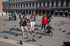 Venice - Tourists (Gary Kinsman) Tags: camera venice people italy silly pose weird funny italia personal candid pigeons streetphotography streetlife tourists venezia 2012 stmarkssquare canoneos5dmarkii canon5dmkii