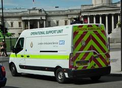 LAS 7872 (kenjonbro) Tags: london uk white londonambulanceservice kenjonbro rear renault master euro5 england fujihs10 trafalgarsquare westminster operationalsupportunit lx11aem 7872 charingcross sw1 fujifilmfinepixhs10 ambulance service 2011 lm35 dci 125 operational support unit