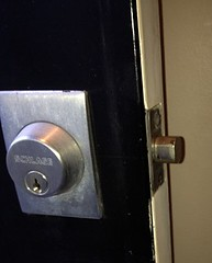 "Schlage Deadbolt Installed Wrong | Repaired by Spadina Security Locksmith Toronto • <a style=""font-size:0.8em;"" href=""http://www.flickr.com/photos/61091887@N02/7244470726/"" target=""_blank"">View on Flickr</a>"