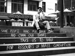 bourgeois (shobie_a) Tags: monochrome politics streetphotography bank melbourne bourgeois banks politicalmessage
