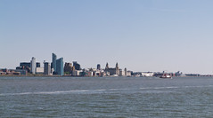 Sunny Liverpool Skyline from Egremont (jjordan64816) Tags: uk liverpool waterfront sunny bluesky mersey wirral liverbuilding rivermersey merseyferry liverpoolskyline