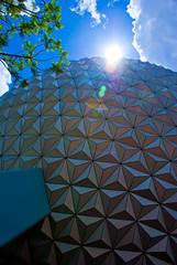 Sun Over Spaceship Earth (rcpromike) Tags: sun orlando epcot florida disney disneyworld wdw waltdisneyworld epcotcenter spaceshipearth sunflare sse
