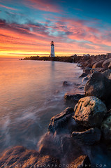 A Morning in the Harbor (Jim Patterson Photography) Tags: california morning travel winter sea santacruz moon lighthouse beach nature sunrise landscape outdoors photography coast harbor jetty shoreline scenic crescent coastal shore walton jimpattersonphotography jimpattersonphotographycom seatosummitworkshops seatosummitworkshopscom