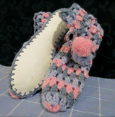 Crochet Slippers (Hesterb) Tags: handmade crochet slippers sheepskinsoles