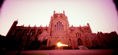 (Micah Barnes) Tags: sunset 120 church holga lomo xpro crossprocessed long cathedral wide australia pinhole velvia nsw headlight 100 wpc 6x12