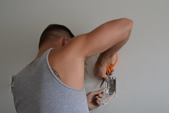 Tim The Electrician (Tobyotter) Tags: man male guy armpit tim friend handyman peekingpits june22012 sailortim