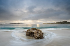 Nugget (Nick Twyford) Tags: sea newzealand sky seascape colour beach water rock clouds sunrise island coast nikon waves waterfront wideangle filter lee northisland coromandel otama 1024mm 06gnd mercuryislands greatmercury